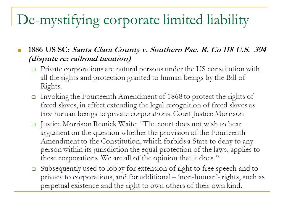 1886 US SC: Santa Clara County v. Southern Pac. R.