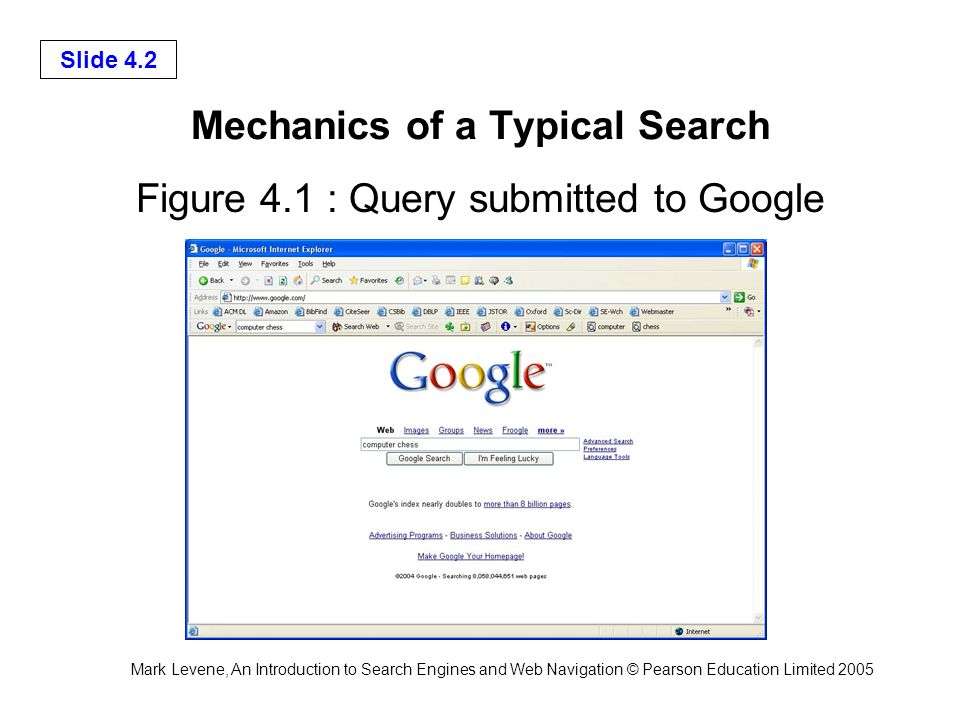 Mark Levene, An Introduction to Search Engines and Web Navigation © Pearson Education Limited 2005 Slide 4.2 Mechanics of a Typical Search Figure 4.1 : Query submitted to Google