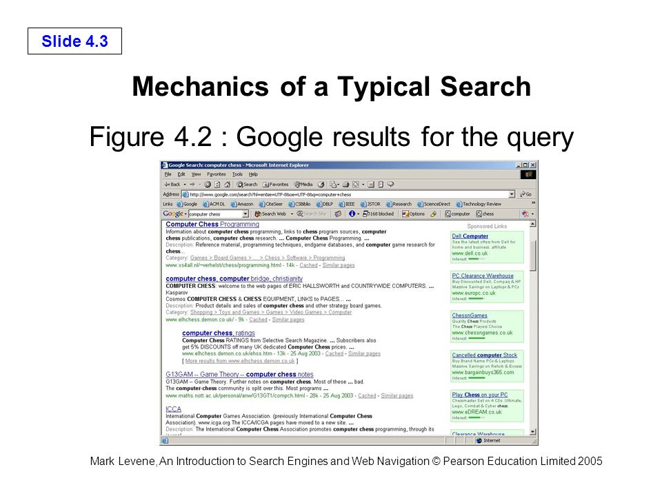Mark Levene, An Introduction to Search Engines and Web Navigation © Pearson Education Limited 2005 Slide 4.3 Mechanics of a Typical Search Figure 4.2 : Google results for the query