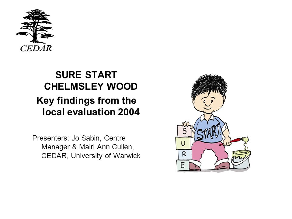 SURE START CHELMSLEY WOOD Key findings from the local evaluation 2004 Presenters: Jo Sabin, Centre Manager & Mairi Ann Cullen, CEDAR, University of Wa