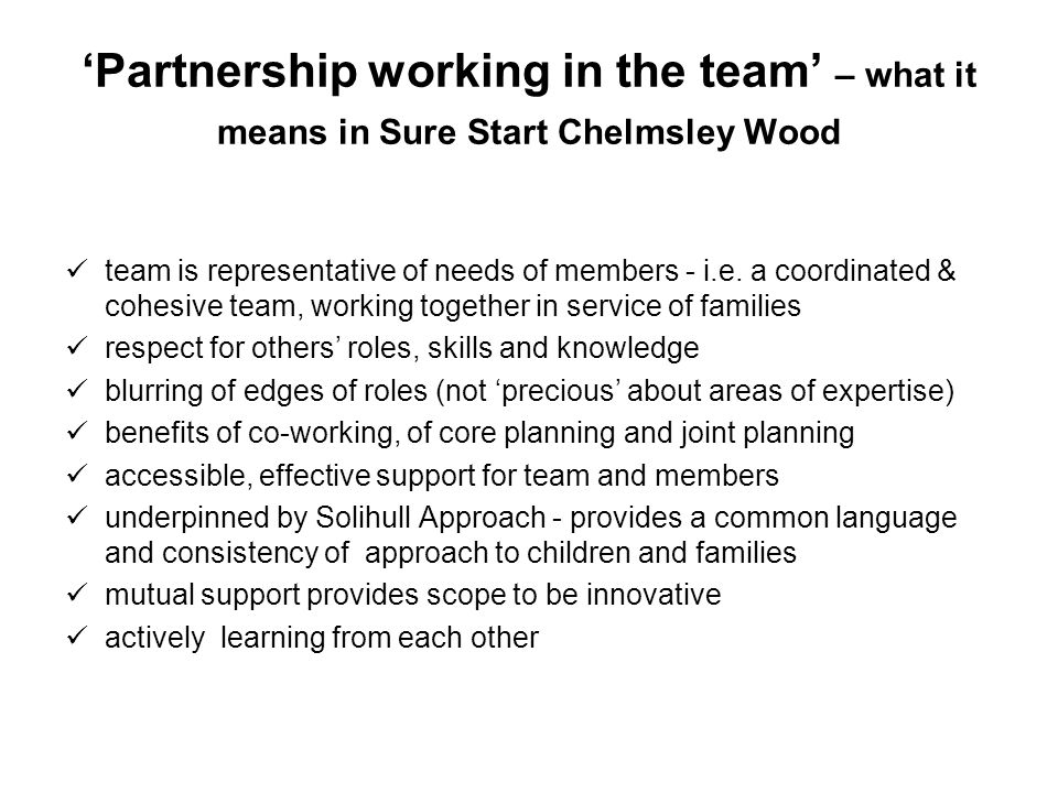 Partnership working in the team – what it means in Sure Start Chelmsley Wood team is representative of needs of members - i.e. a coordinated & cohesiv