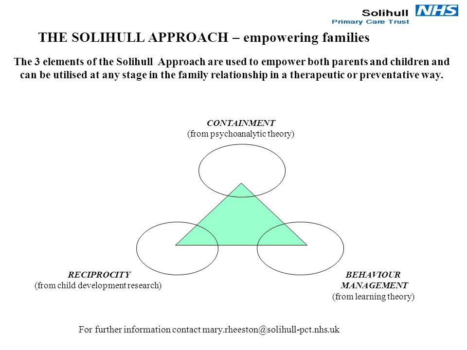 CONTAINMENT (from psychoanalytic theory) RECIPROCITY (from child development research) BEHAVIOUR MANAGEMENT (from learning theory) The 3 elements of t