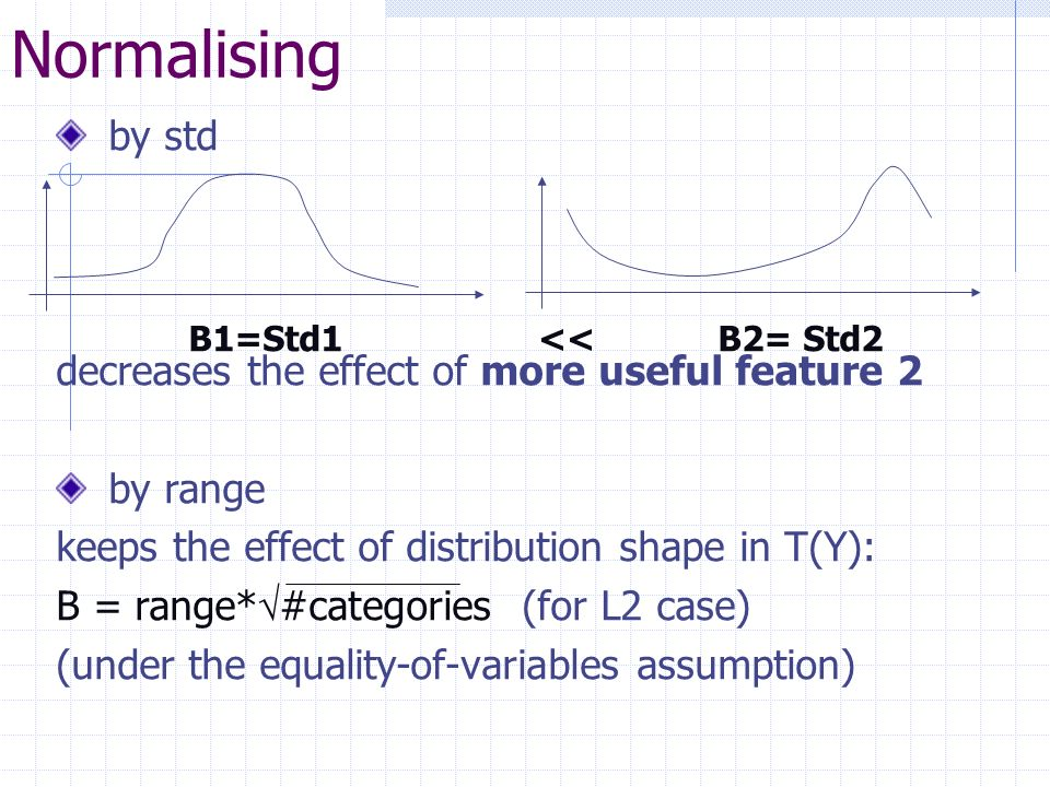 Normalising by std decreases the effect of more useful feature 2 by range keeps the effect of distribution shape in T(Y): B = range* #categories (for L2 case) (under the equality-of-variables assumption) B1=Std1 << B2= Std2