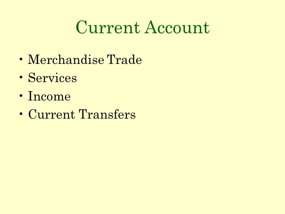 Current Account Merchandise Trade Services Income Current Transfers
