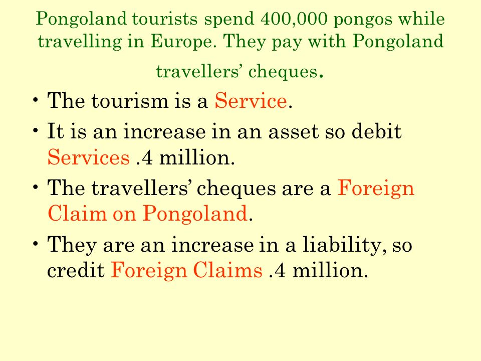 Pongoland tourists spend 400,000 pongos while travelling in Europe. They pay with Pongoland travellers cheques. The tourism is a Service. It is an inc