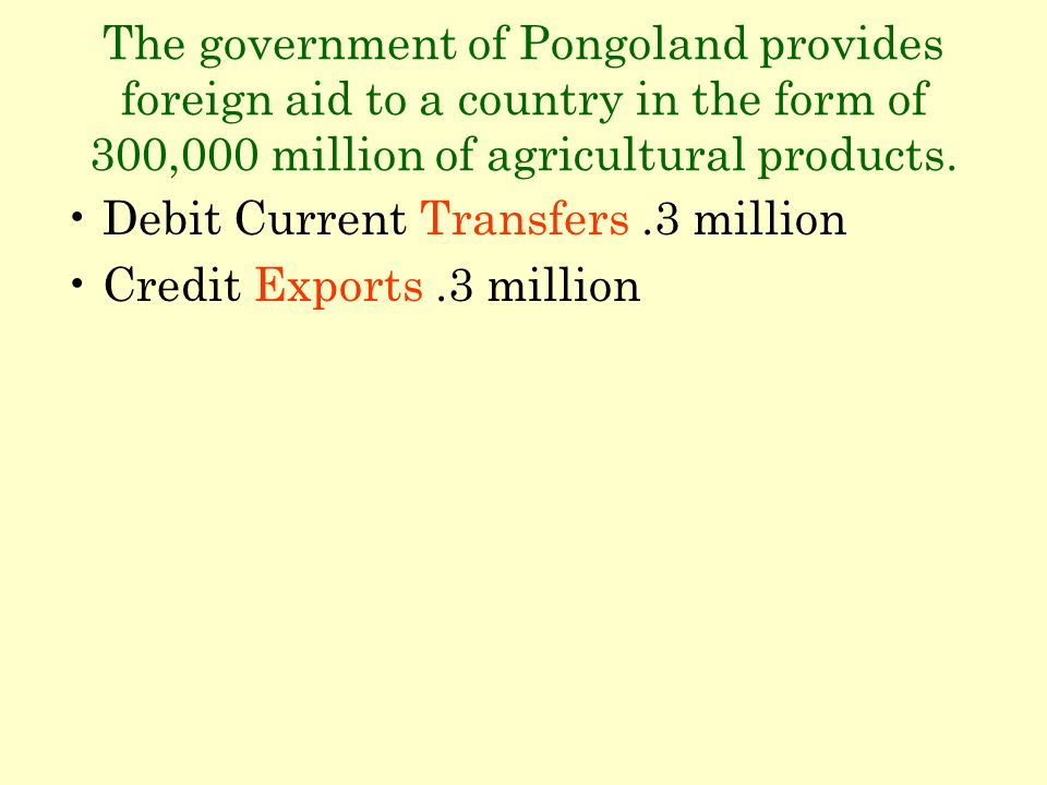 The government of Pongoland provides foreign aid to a country in the form of 300,000 million of agricultural products. Debit Current Transfers.3 milli