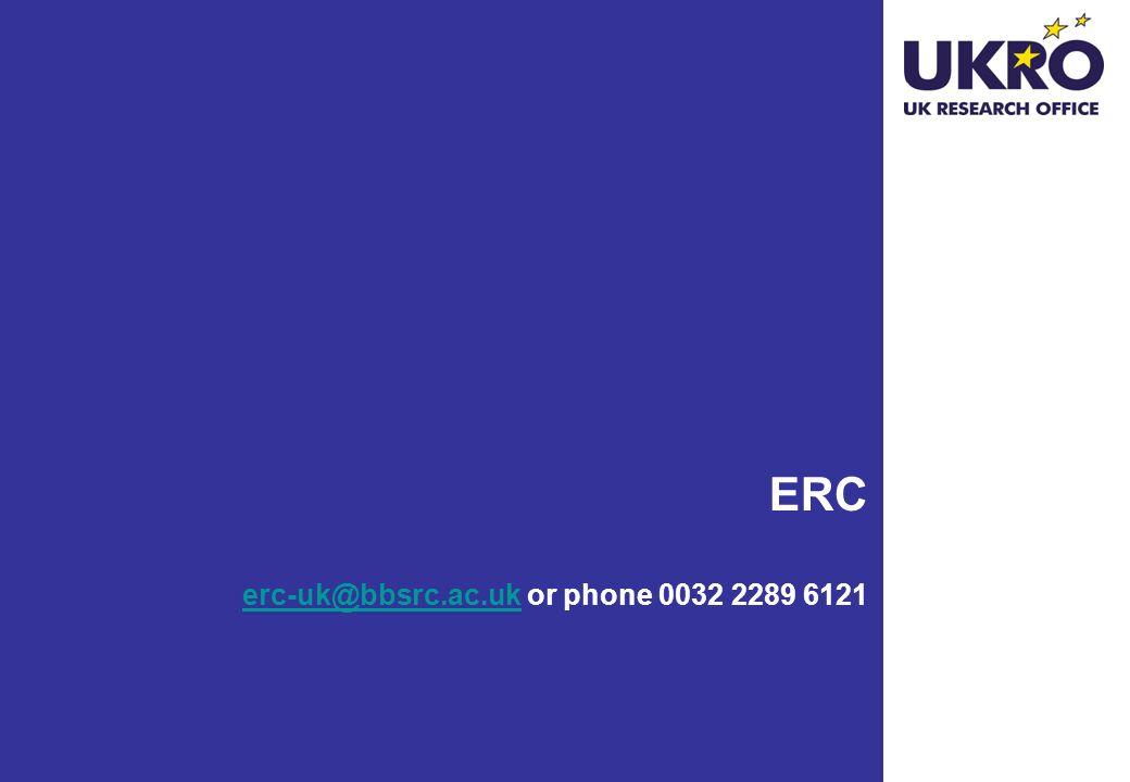 ERC erc-uk@bbsrc.ac.uk or phone 0032 2289 6121 erc-uk@bbsrc.ac.uk 30
