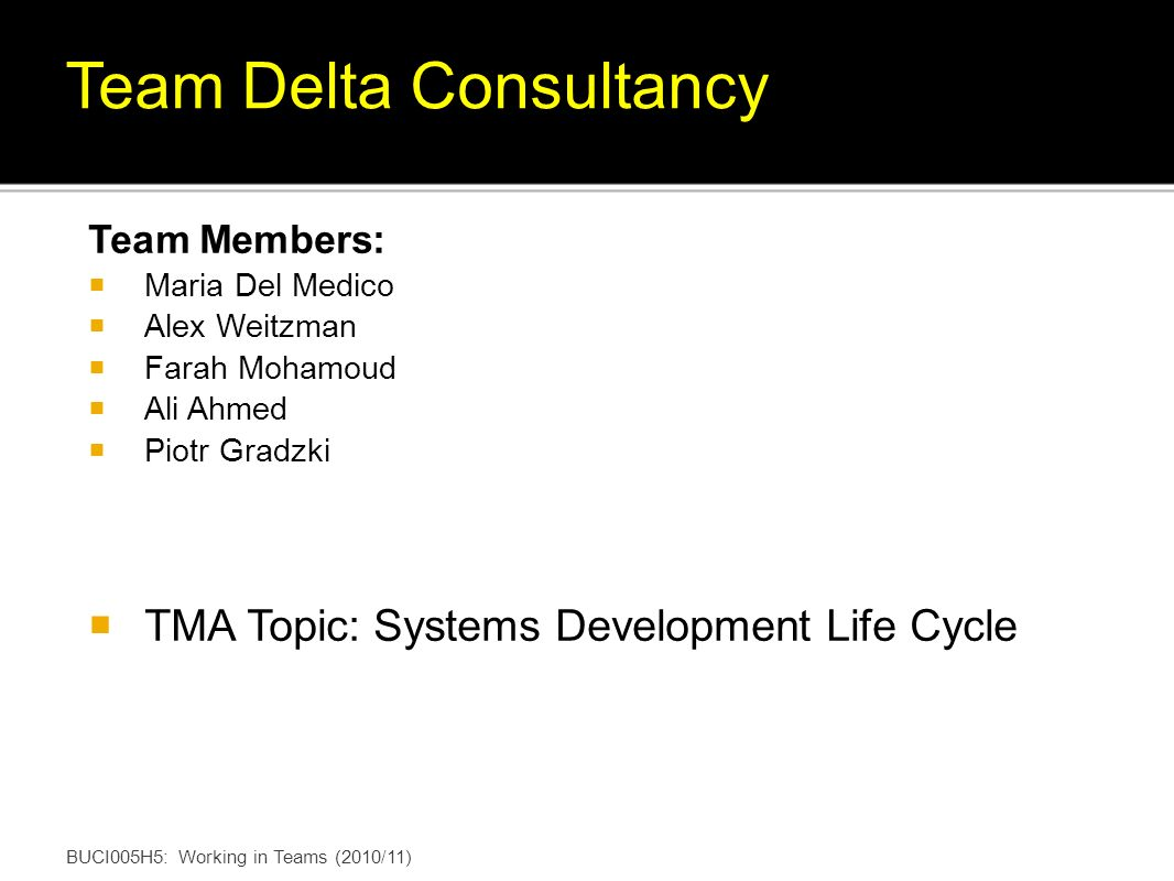 Team Members: Maria Del Medico Alex Weitzman Farah Mohamoud Ali Ahmed Piotr Gradzki TMA Topic: Systems Development Life Cycle BUCI005H5: Working in Teams (2010/11) Team Delta Consultancy