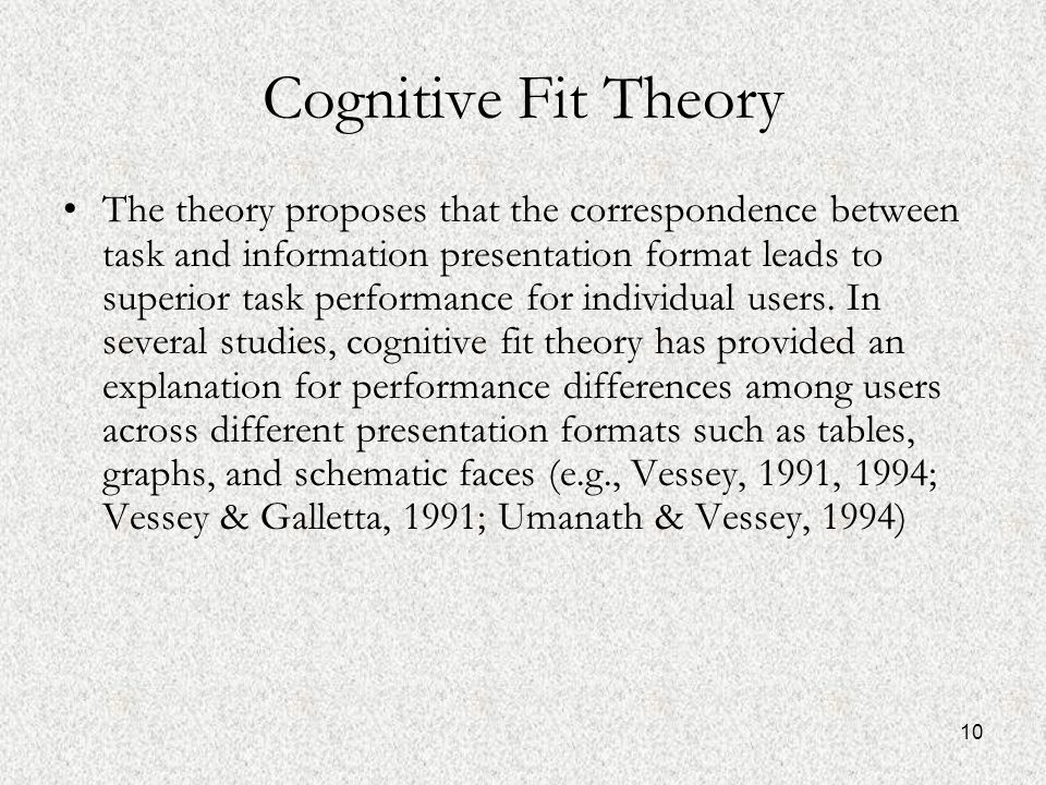 10 Cognitive Fit Theory The theory proposes that the correspondence between task and information presentation format leads to superior task performance for individual users.