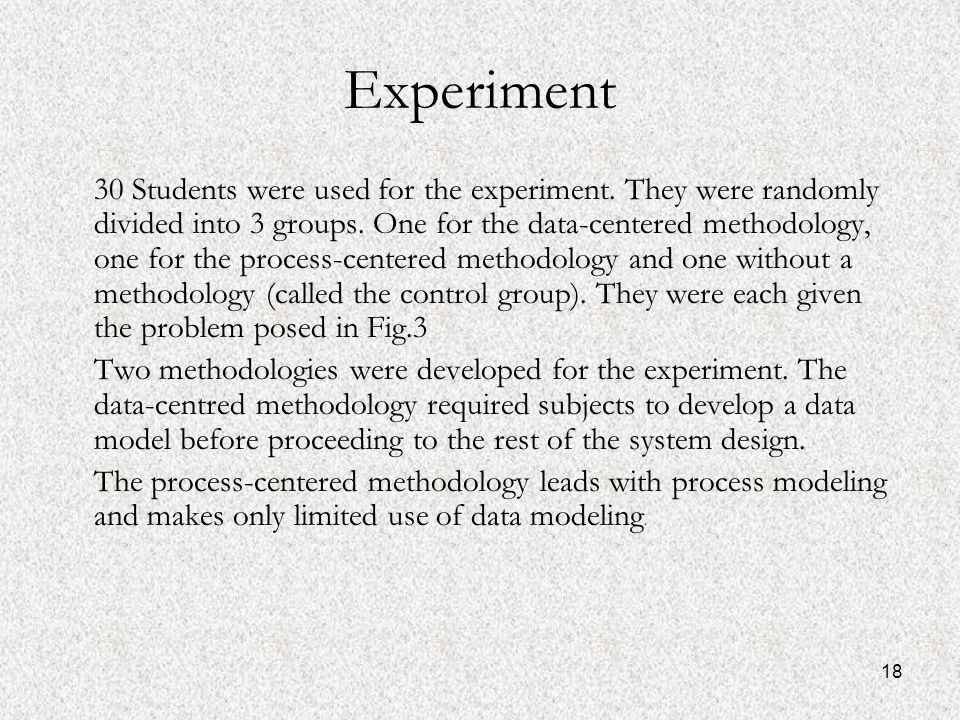 18 Experiment 30 Students were used for the experiment.