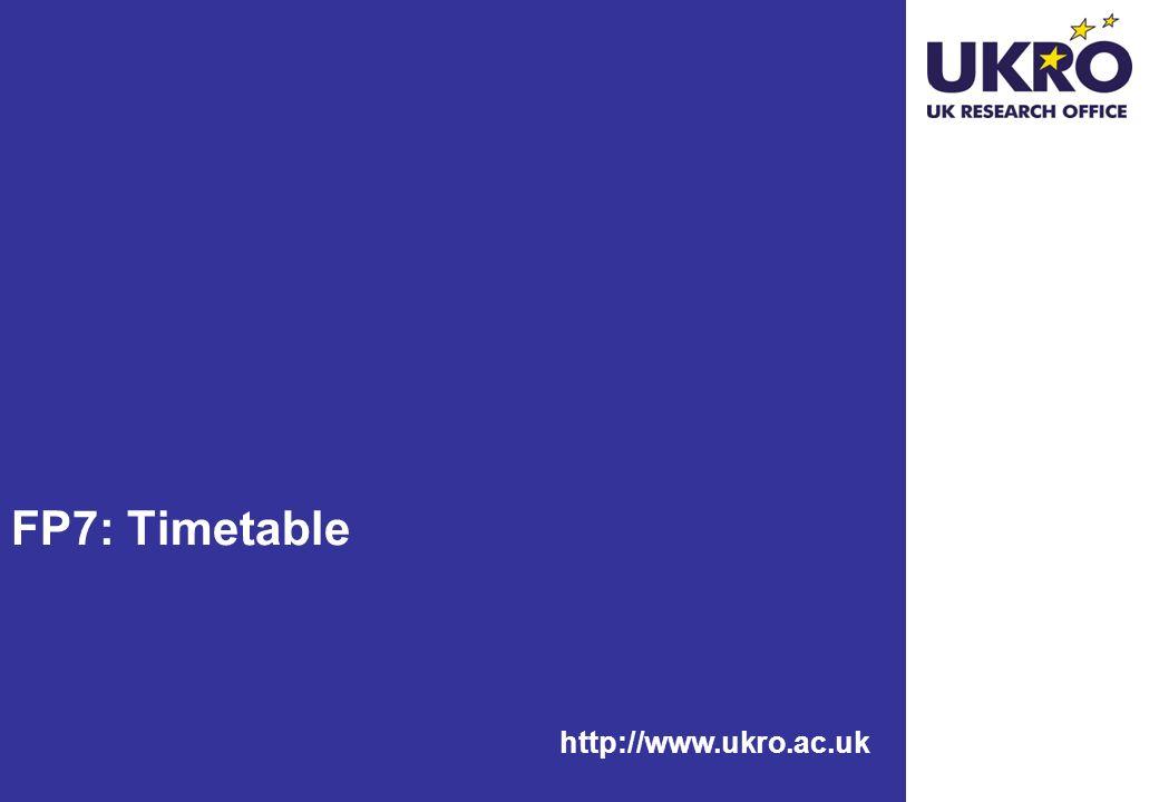 http://www.ukro.ac.uk FP7: Timetable