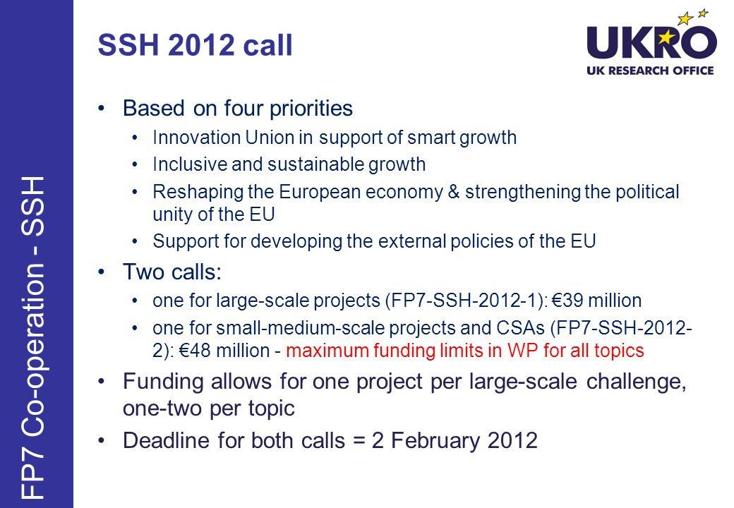 SSH 2012 call Based on four priorities Innovation Union in support of smart growth Inclusive and sustainable growth Reshaping the European economy & strengthening the political unity of the EU Support for developing the external policies of the EU Two calls: one for large-scale projects (FP7-SSH-2012-1): 39 million one for small-medium-scale projects and CSAs (FP7-SSH-2012- 2): 48 million - maximum funding limits in WP for all topics Funding allows for one project per large-scale challenge, one-two per topic Deadline for both calls = 2 February 2012 FP7 Co-operation - SSH