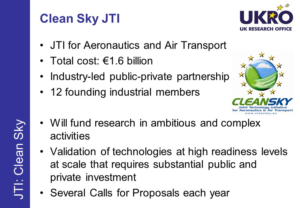 Clean Sky JTI JTI for Aeronautics and Air Transport Total cost: 1.6 billion Industry-led public-private partnership 12 founding industrial members Will fund research in ambitious and complex activities Validation of technologies at high readiness levels at scale that requires substantial public and private investment Several Calls for Proposals each year JTI: Clean Sky