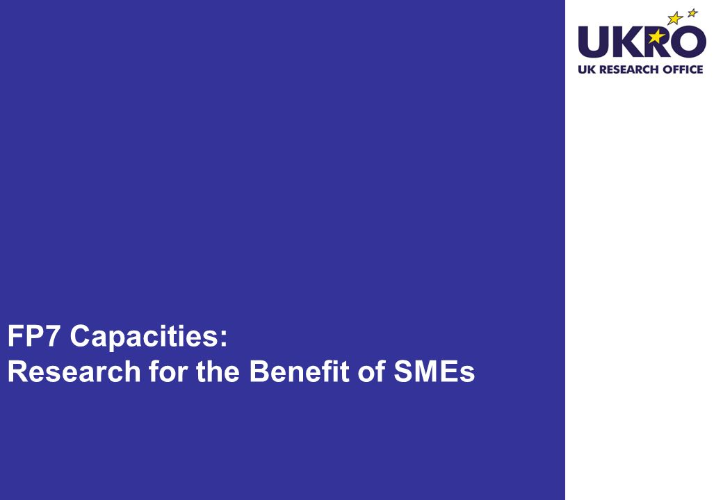FP7 Capacities: Research for the Benefit of SMEs
