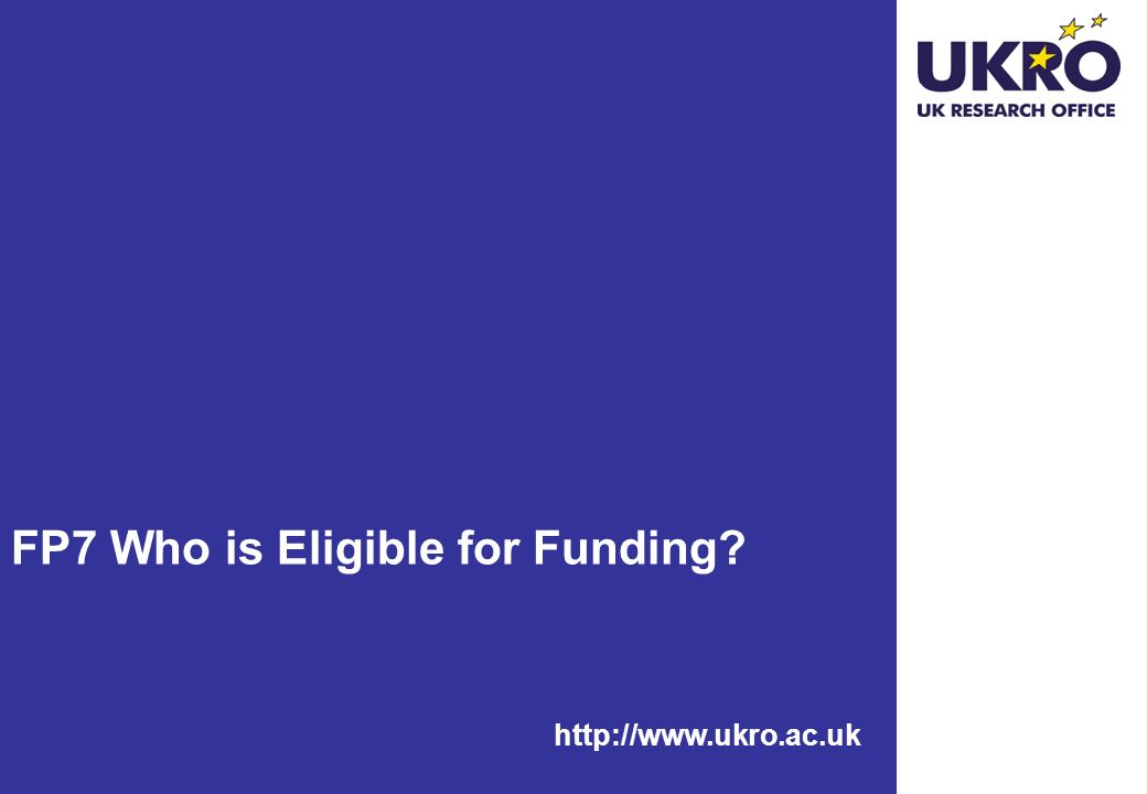 FP7 Who is Eligible for Funding