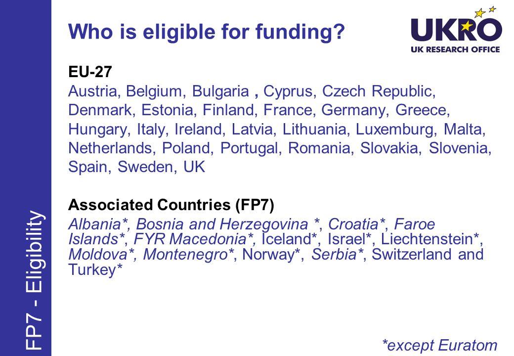 Maximum reimbursement rates* FP7 – Industry FP7 – Public Bodies, Universities, SMEs, etc.