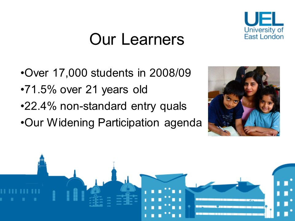 Our Learners Over 17,000 students in 2008/09 71.5% over 21 years old 22.4% non-standard entry quals Our Widening Participation agenda