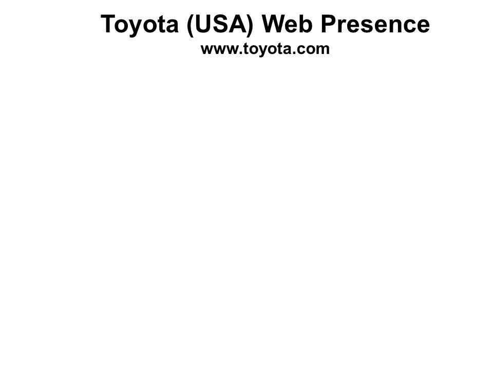 Toyota (USA) Web Presence www.toyota.com