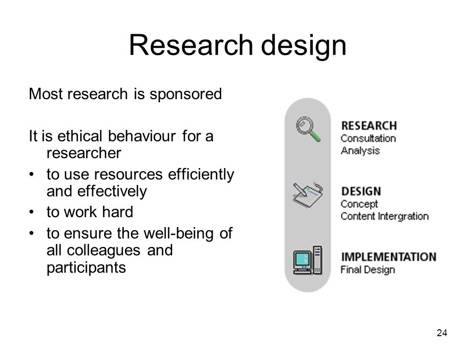 Research design Most research is sponsored It is ethical behaviour for a researcher to use resources efficiently and effectively to work hard to ensur