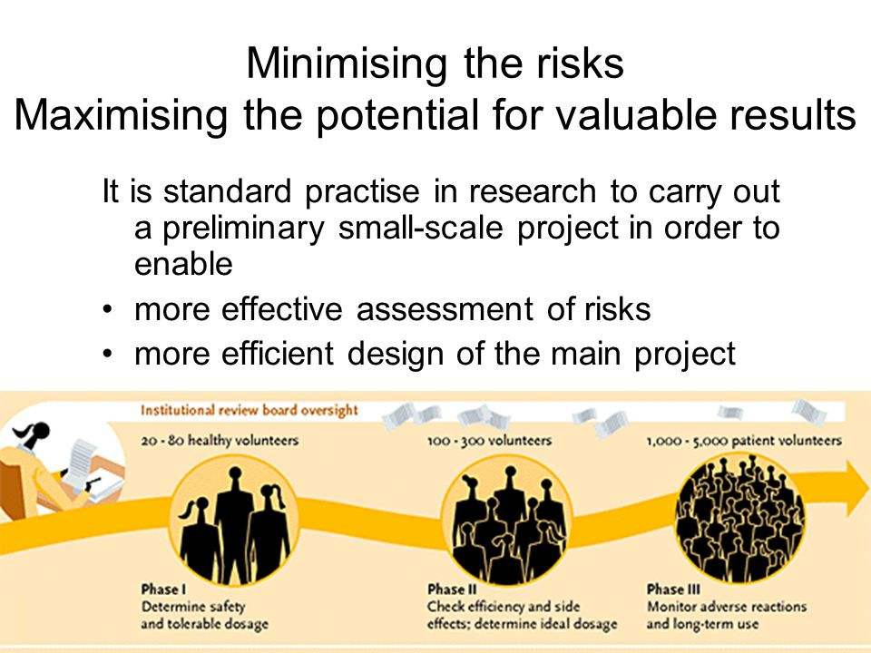 Minimising the risks Maximising the potential for valuable results It is standard practise in research to carry out a preliminary small-scale project