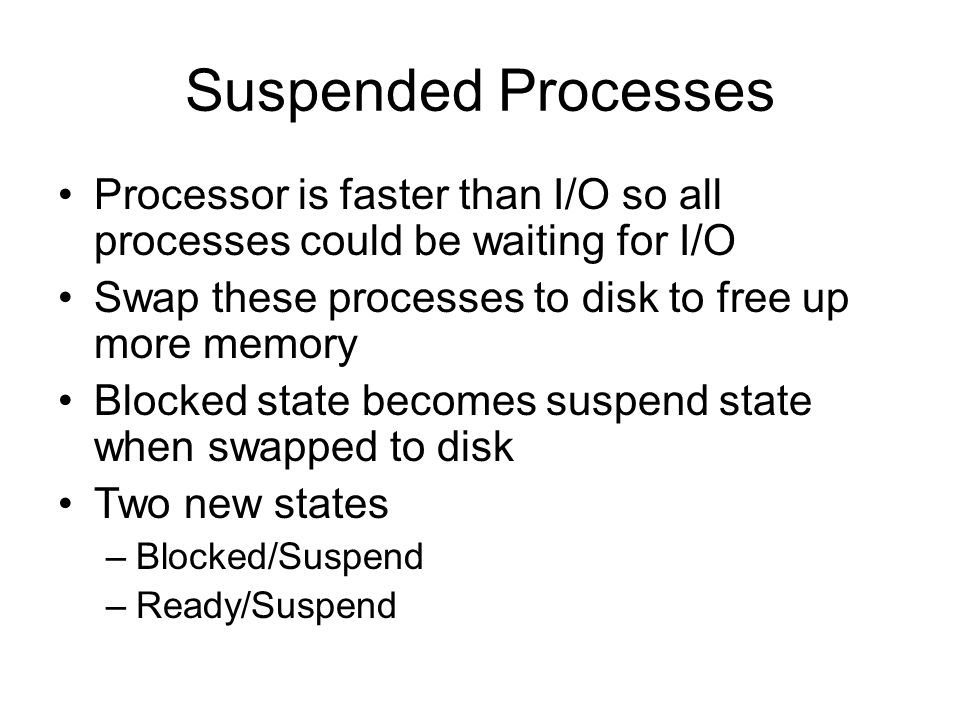 Suspended Processes Processor is faster than I/O so all processes could be waiting for I/O Swap these processes to disk to free up more memory Blocked