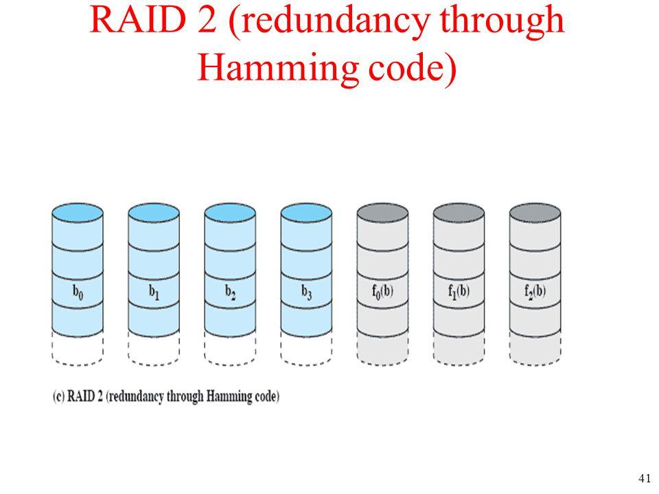 41 RAID 2 (redundancy through Hamming code)