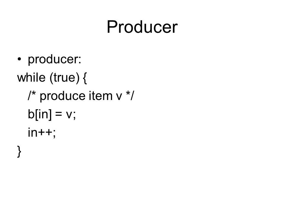 Producer producer: while (true) { /* produce item v */ b[in] = v; in++; }