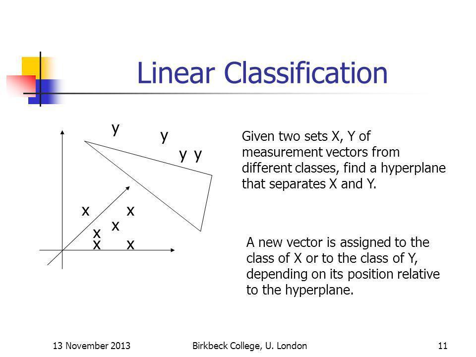 13 November 2013Birkbeck College, U. London11 Linear Classification x x xx x x y y yy Given two sets X, Y of measurement vectors from different classe
