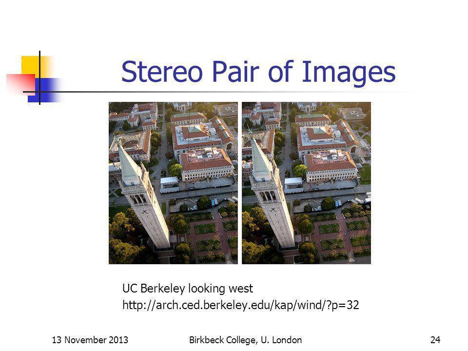 Stereo Pair of Images 13 November 2013Birkbeck College, U. London24 UC Berkeley looking west http://arch.ced.berkeley.edu/kap/wind/?p=32