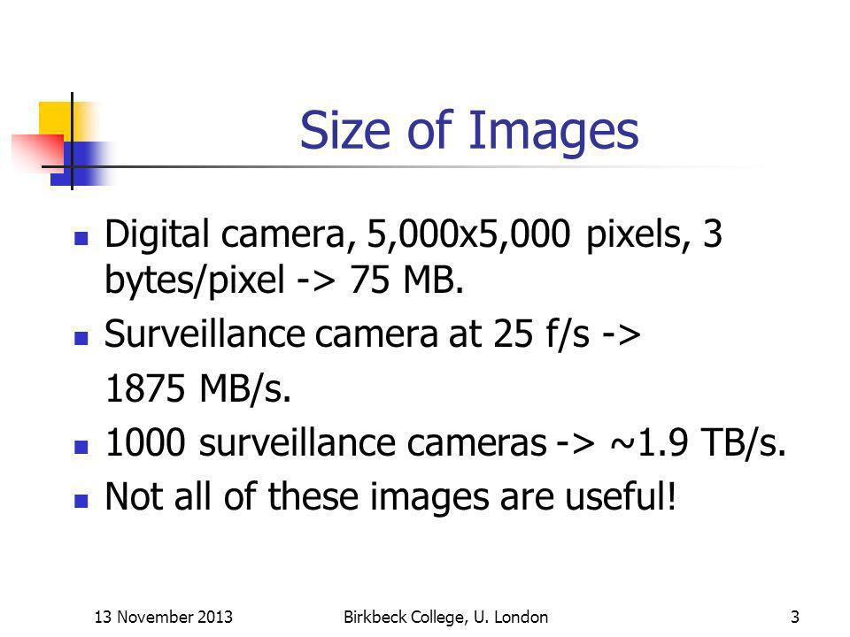 13 November 2013Birkbeck College, U. London3 Size of Images Digital camera, 5,000x5,000 pixels, 3 bytes/pixel -> 75 MB. Surveillance camera at 25 f/s