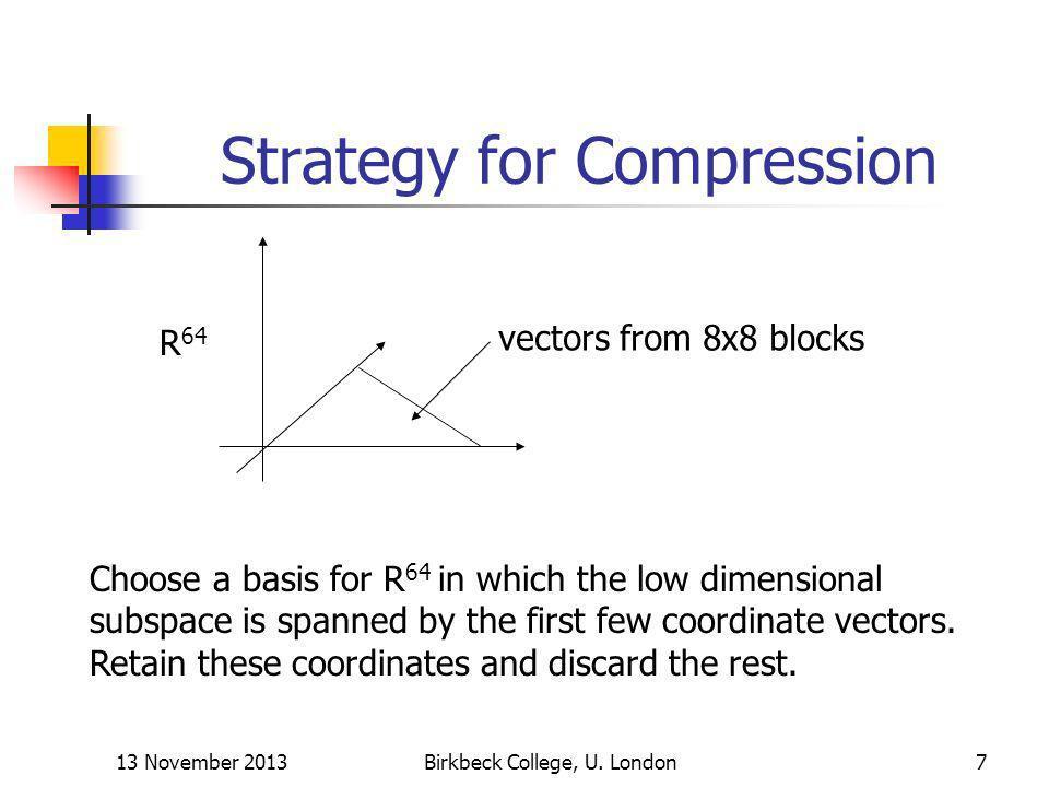 13 November 2013Birkbeck College, U. London8 Discrete Cosine Transform