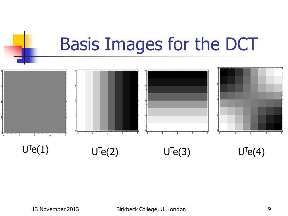 13 November 2013Birkbeck College, U. London9 Basis Images for the DCT U T e(1) U T e(2)U T e(3)U T e(4)