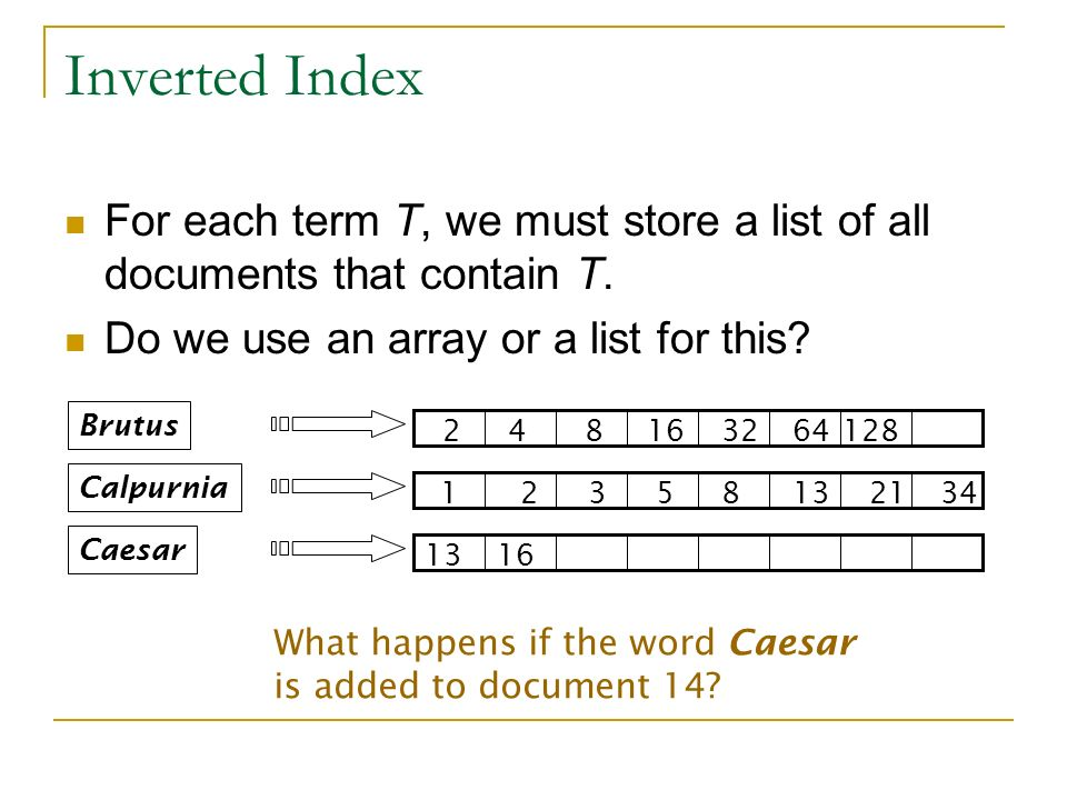 Inverted Index For each term T, we must store a list of all documents that contain T. Do we use an array or a list for this? Brutus Calpurnia Caesar 1
