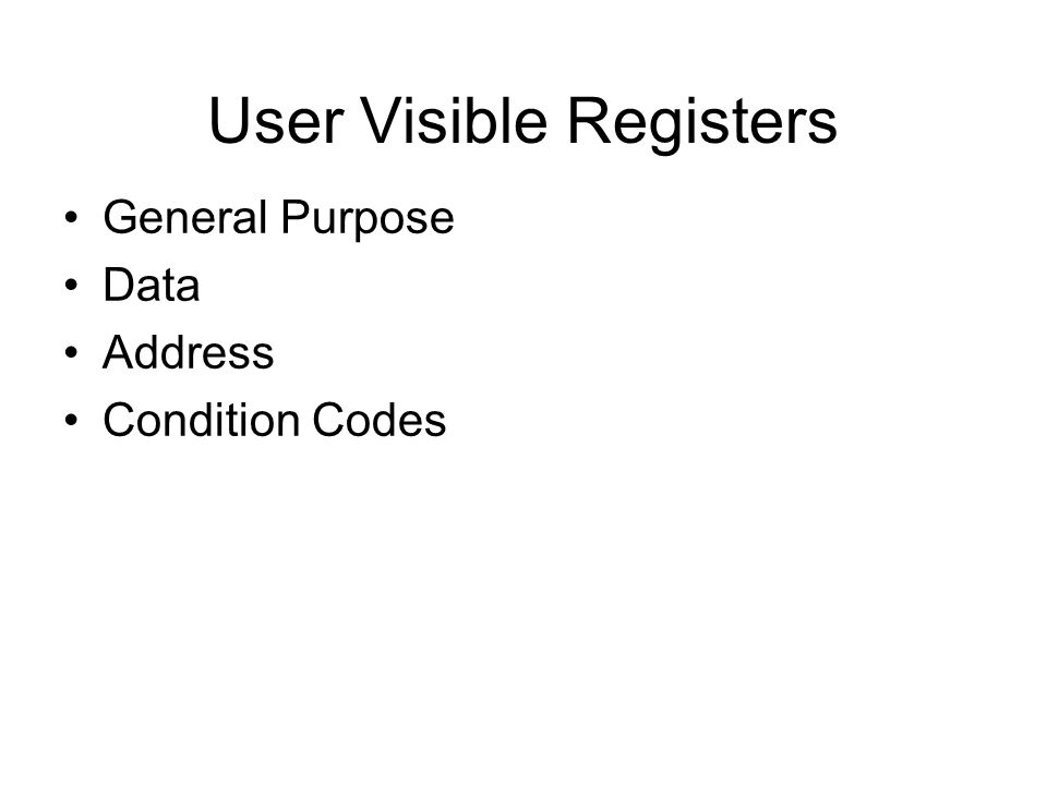 User Visible Registers General Purpose Data Address Condition Codes