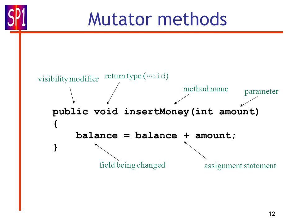 12 Mutator methods public void insertMoney(int amount) { balance = balance + amount; } return type ( void ) method name parameter visibility modifier assignment statement field being changed