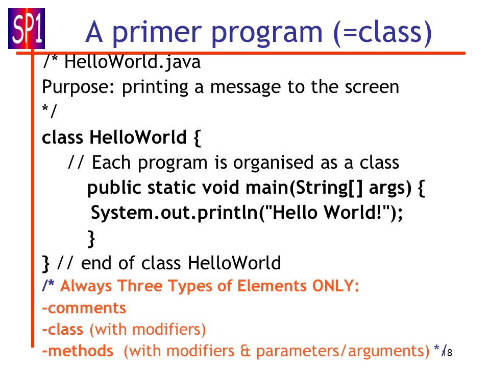 18 A primer program (=class) /* HelloWorld.java Purpose: printing a message to the screen */ class HelloWorld { // Each program is organised as a clas