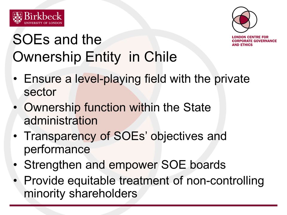 Ensure a level-playing field with the private sector Ownership function within the State administration Transparency of SOEs objectives and performance Strengthen and empower SOE boards Provide equitable treatment of non-controlling minority shareholders SOEs and the Ownership Entity in Chile