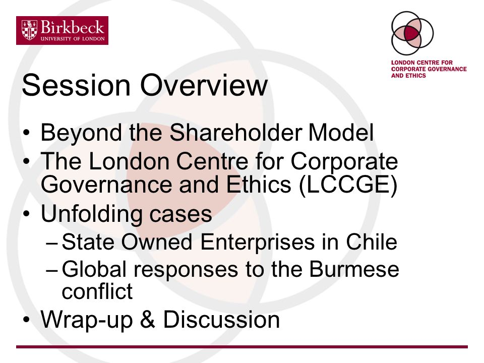 Session Overview Beyond the Shareholder Model The London Centre for Corporate Governance and Ethics (LCCGE) Unfolding cases –State Owned Enterprises i