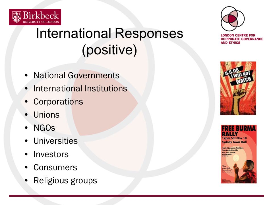 International Responses (positive) National Governments International Institutions Corporations Unions NGOs Universities Investors Consumers Religious