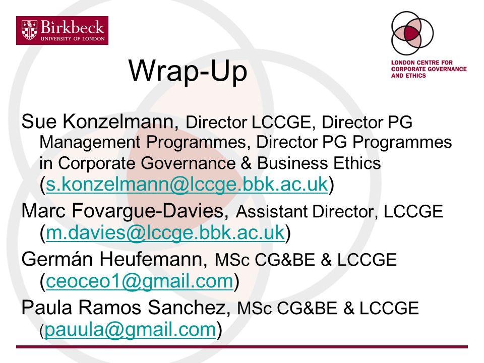 Wrap-Up Sue Konzelmann, Director LCCGE, Director PG Management Programmes, Director PG Programmes in Corporate Governance & Business Ethics (s.konzelm