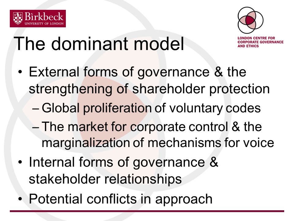 The dominant model External forms of governance & the strengthening of shareholder protection –Global proliferation of voluntary codes –The market for corporate control & the marginalization of mechanisms for voice Internal forms of governance & stakeholder relationships Potential conflicts in approach