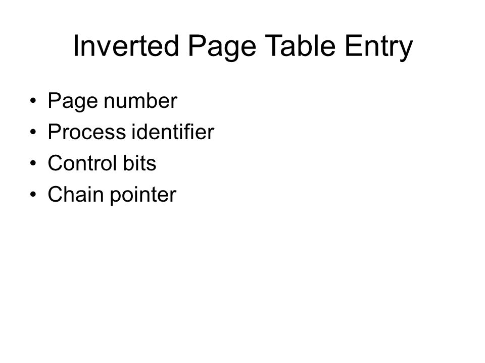 Inverted Page Table Entry Page number Process identifier Control bits Chain pointer