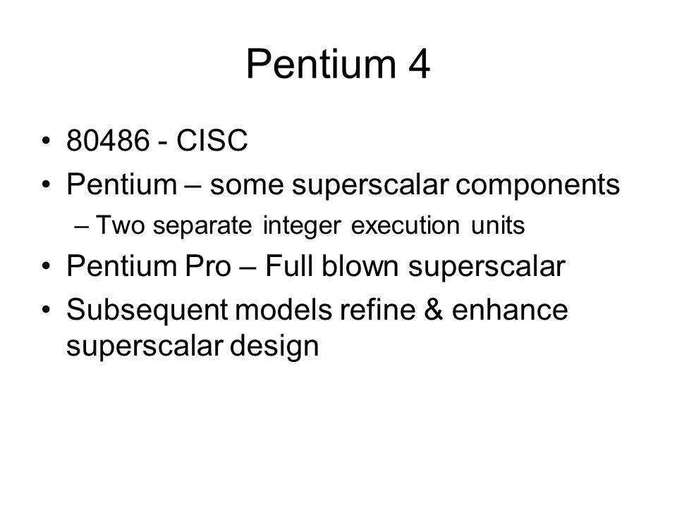 Pentium 4 80486 - CISC Pentium – some superscalar components –Two separate integer execution units Pentium Pro – Full blown superscalar Subsequent models refine & enhance superscalar design