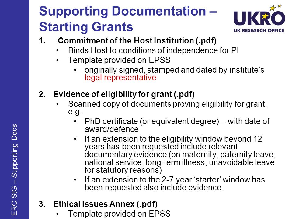 Supporting Documentation – Starting Grants 1.