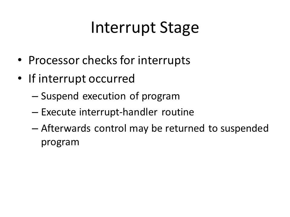 Interrupt Stage Processor checks for interrupts If interrupt occurred – Suspend execution of program – Execute interrupt-handler routine – Afterwards