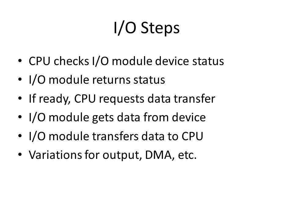 I/O Steps CPU checks I/O module device status I/O module returns status If ready, CPU requests data transfer I/O module gets data from device I/O modu