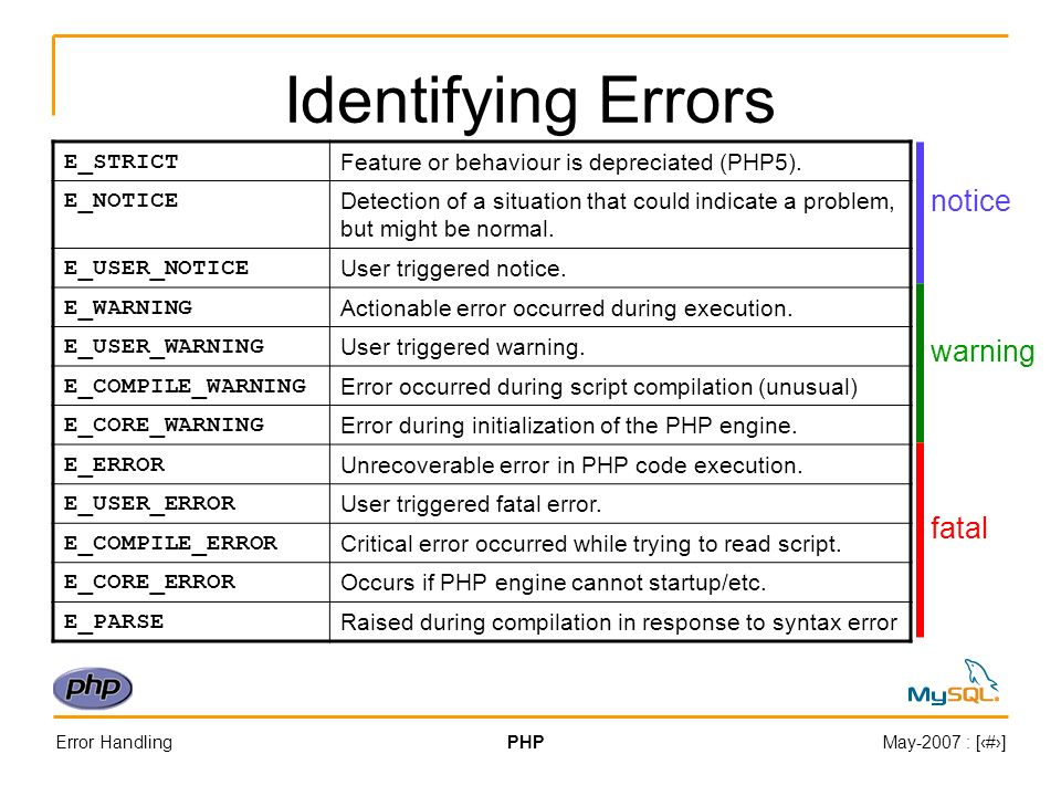 Error HandlingPHPMay-2007 : [#] Identifying Errors E_STRICT Feature or behaviour is depreciated (PHP5).