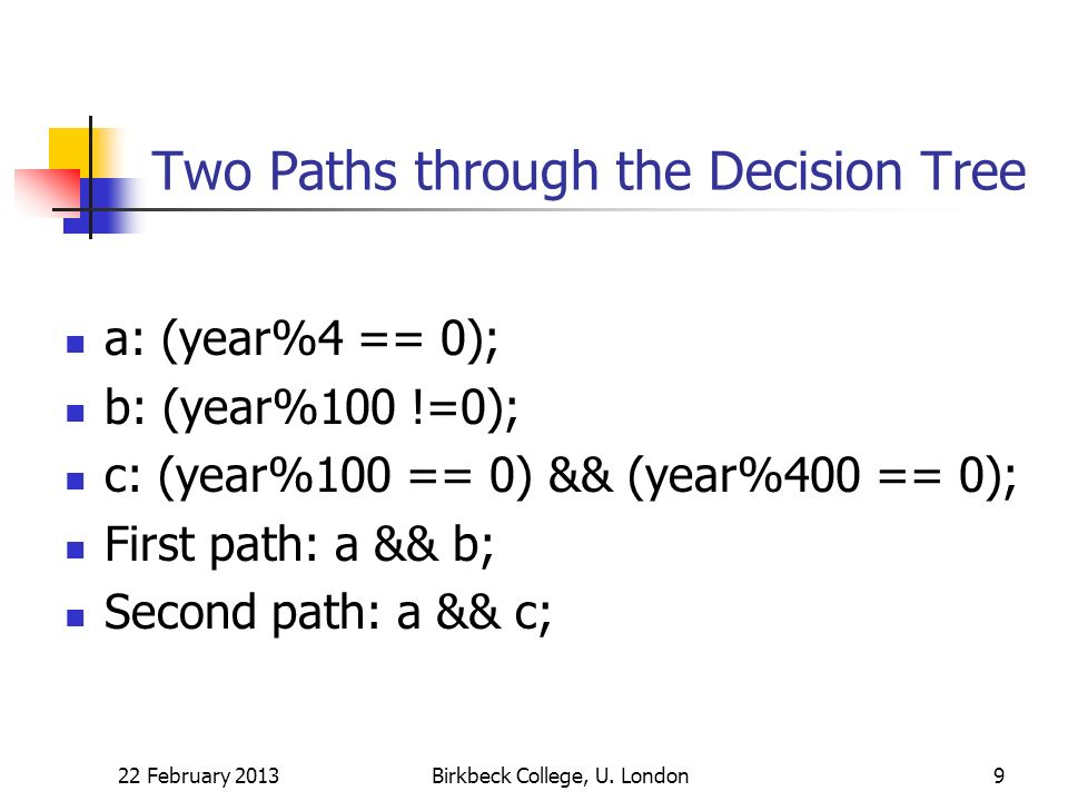 Boolean Test for a Leap Year Solution: (a && b)||(a && c) Equivalent solution: a && (b||c) Proof of equivalence: check a = false (both are false) check a = true (both reduce to b||c) 22 February 2013Birkbeck College, U.