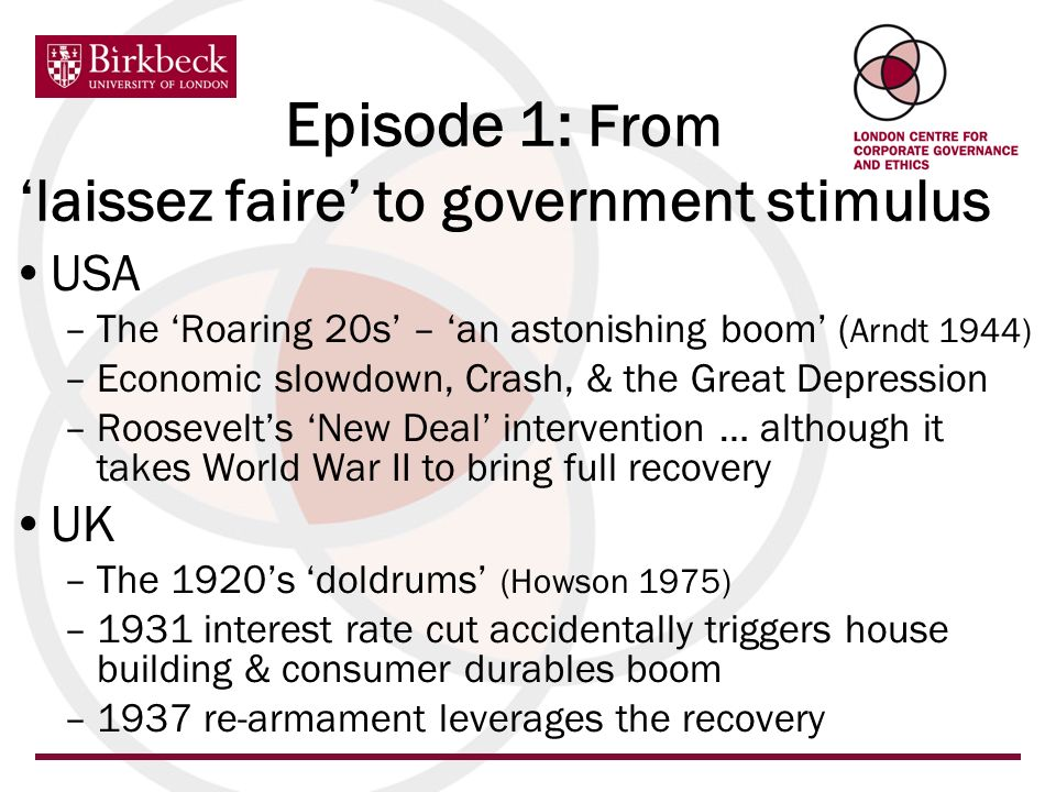 Episode 1: From laissez faire to government stimulus USA –The Roaring 20s – an astonishing boom ( Arndt 1944) –Economic slowdown, Crash, & the Great D