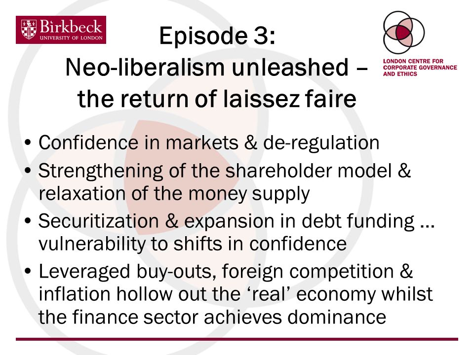 Episode 3: Neo-liberalism unleashed – the return of laissez faire Confidence in markets & de-regulation Strengthening of the shareholder model & relax